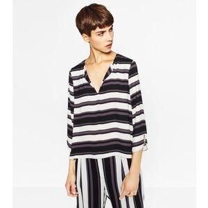 NWT Zara Flowy Stripe Print Blouse